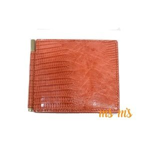 NWT TOM FORD orange Lizard Bifold Card Holder